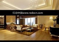 照片级欧式软包背景带飘窗的豪华卧室3dmax模型