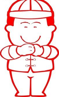 中国古典图案-双手抱拳的戴帽子的男子