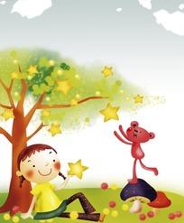 手绘坐在星星绿树下小女孩和摘星的红色小熊