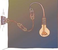 卡通插头和灯泡