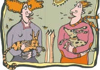 抱着狗的男人和抱着猫的女人