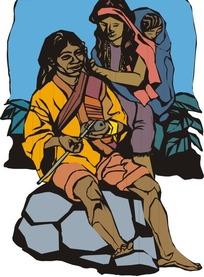 背着小孩帮妈妈梳头的妇女矢量图