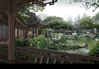 仿古建筑公园景观设计效果图PSD分层素材