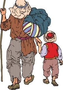 扶着棍子背包袱拉着小孩的男人背部矢量图