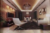 高贵华丽客厅装饰效果图3D模板素材