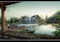 公园景观假山和瀑布设计效果图PSD分层素材