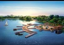 公园内湖码头效果图PSD素材
