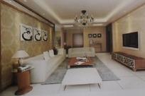 简约唯美风格客厅装饰效果图3D模板素材