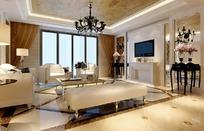 金箔装饰吊顶的现代欧式客厅3dmax模型