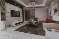 冷色调简约风格客厅装饰效果图