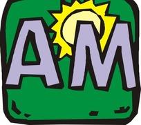 绿色方形里的AM与黄色太阳矢量图
