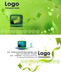 绿色网络科技企业名片设计PSD素材