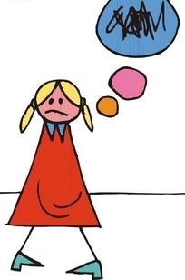 小女孩思考问题