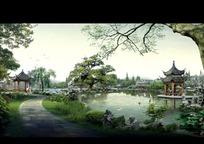 秀丽优美公园风景PSD分层素材