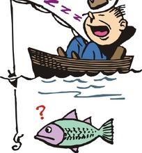 一边钓鱼一边睡觉的男人卡通画