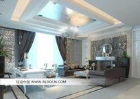 银箔装饰吊顶奢华欧式会客室3dmax模型图片