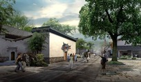 中国古建筑效果图PSD模板素材