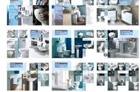 白色简约风格卫浴用品介绍画册矢量模板