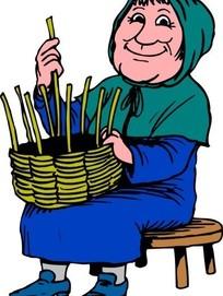 编篮子的老妇人