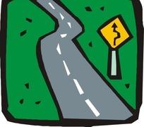 方形里一条公路矢量图