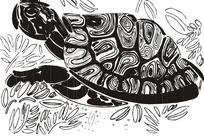 黑白乌龟插画