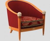 红色经典软靠椅设计模型
