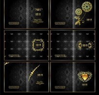 精致典雅金色花纹画册封面设计模板