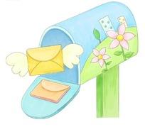 卡通信箱里飞出来的长翅膀的信件