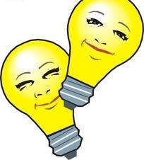 两个黄色卡通灯泡