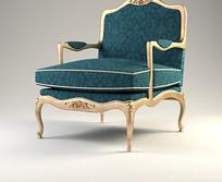 欧式蓝色软靠椅模型