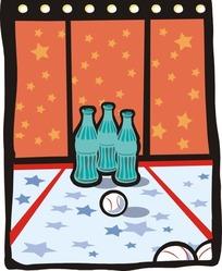手绘棒球和玻璃瓶子
