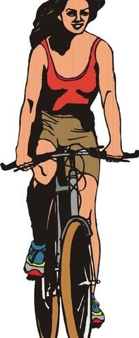 手绘骑自行车的少女