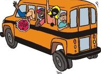 小孩头手部位伸出巴士窗口矢量图