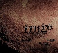 原始人类捕鱼壁画PSD素材