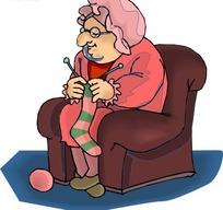 坐在沙发上织袜子的老妇人