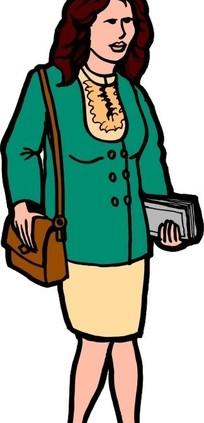 背着手提包与拿着书本的女人