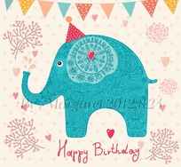 可爱卡通线描大象