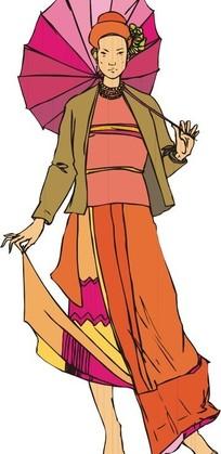手绘撑着伞提着裙摆的古代女子下载 1571321