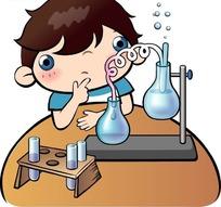 在做化学实验的小男孩