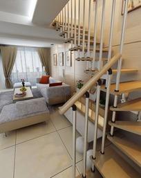 复式楼客厅楼梯处设计3D模型图