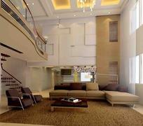 复式小二楼客厅3d效果图图片