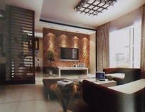 古典优雅风格客厅装饰效果图3D模板素材