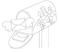 黑白线描信箱里飞出翅膀信封