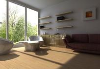 简单大客厅3D效果图