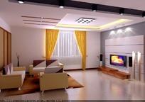 简洁现代客厅3D模型图