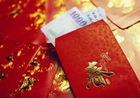 金色祥瑞图案红包与蓝色1000大钞