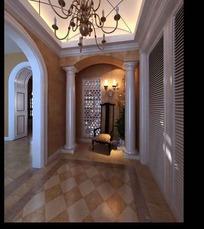 罗马元素与欧式风格混搭过廊3dmax模型