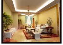 暖色调客厅3D模型图