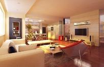 暖色系现代客厅3D效果图
