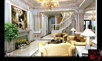 欧式大客厅3D3D效果图